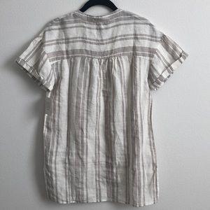 Ellen Tracy Tops - Ellen Tracy Pure Linen Sandstone Striped Tunic